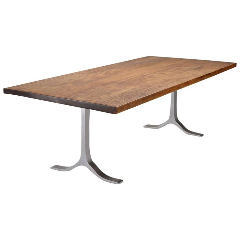 Bespoke Dining, Antique Hardwood on Sand Cast Aluminium Base by P. Tendercool For Sale