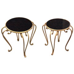Pair of Art Deco Side Tables in Opaline and Iron, Attributed to René Prou