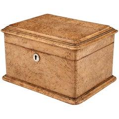 Antique Masur Birch Velvet Lined Jewelry Box, 20th Century