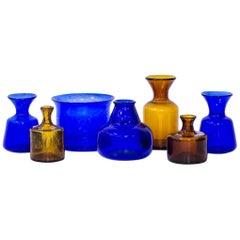 Erik Höglund Set of Seven Glass Vases, Sweden, 1950s