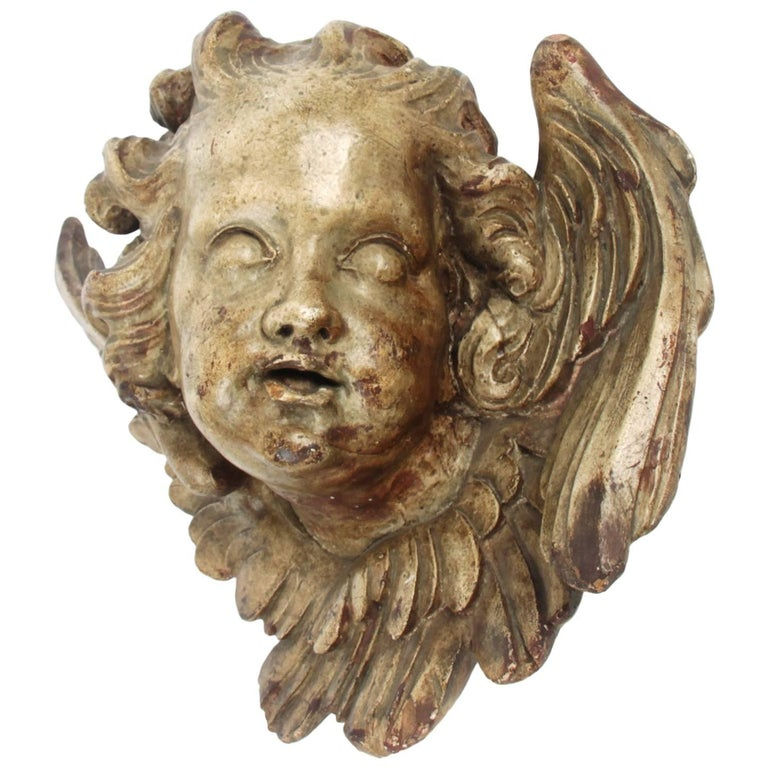 Terracotta Angel Head, circa 1800 For Sale