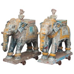 Set of Two Wooden Painted 19th Century Elephants, India