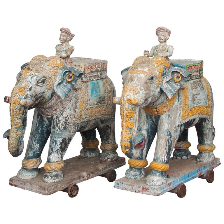 Set of Two Wooden Painted 19th Century Elephants, India 1