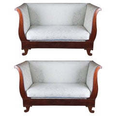 19th Century, French Pair of Canape, Mahogany Wood