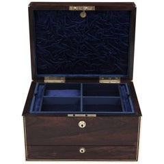 Rosewood Brass Bound Jewelry Box with Campaign Carry Handles, 19th Century