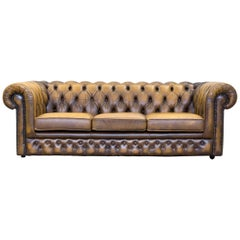 Thomas Lloyd Chesterfield Leather Sofa Ocre Brown Three-Seat Couch Retro Vintage