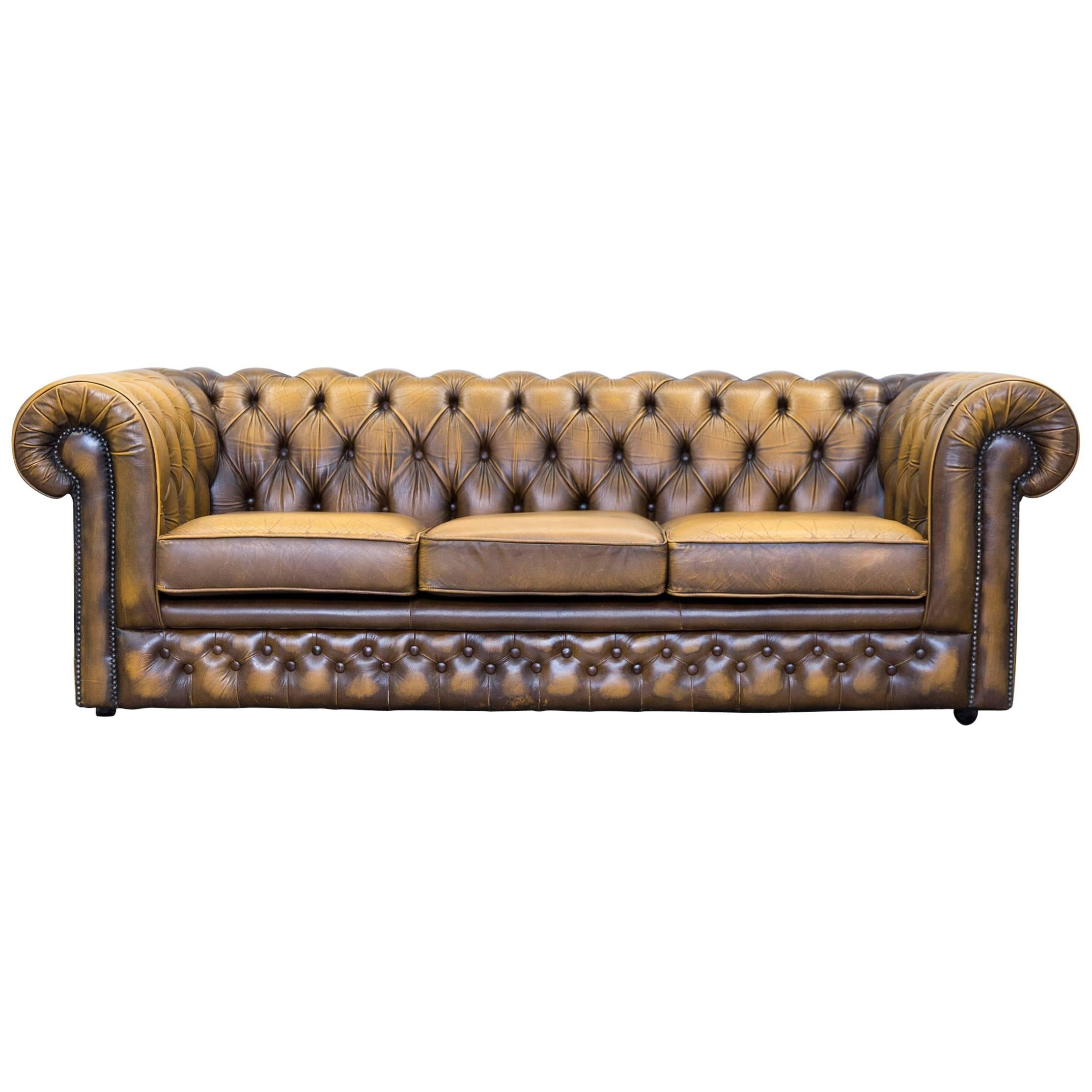 Captivating Thomas Lloyd Chesterfield Leather Sofa Ocre Brown Three Seat Couch Retro  Vintage 1