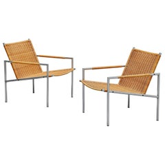 Martin Visser SZ01 Easy Chairs Cane for 't Spectrum, 1965