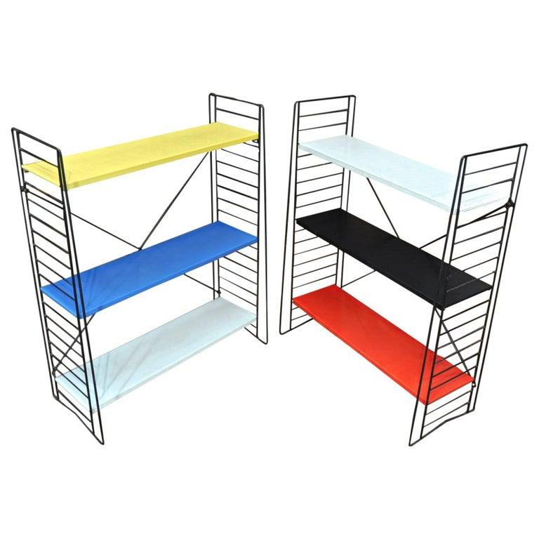 Pair of Tomado Multi-Color Metal Standing Book Shelves