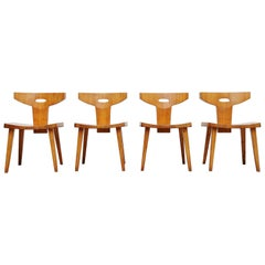 Jacob Kielland Brandt Dining Chairs Set of Four, Denmark, 1960