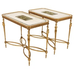 Pair of Gilt Bronze-Mounted Neoclassical Style Centre Tables with Marble Tops