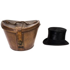 19th Century Black Silk Top Hat in Leather Case W. MacQueen