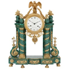 Gilt Bronze Mounted Antique Malachite Mantel Clock from the Louis XVI Period