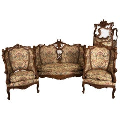 Salon Suite in Sculpted Oak with Matching Screen, Baroque Style Belgium