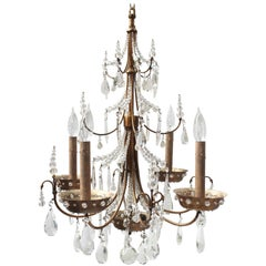 Maison Jansen Four-Arm Brass and Crystal Chandelier