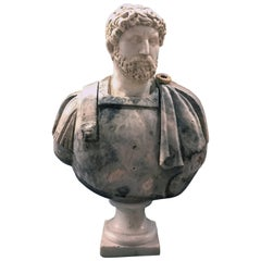 19th Century Marble Polychrome Bust of the Roman Emperor Hadrian