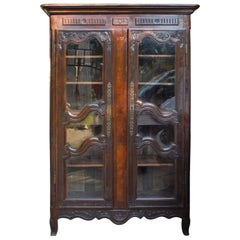 French Rustic Carved Wood Armoire, circa 1850