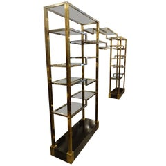 Mid-20th Century Large French Brass Shelving Unit