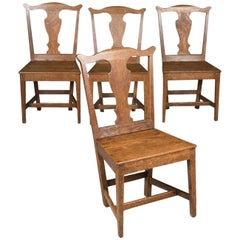 Antique Set of Four Chairs, English Country Kitchen, Victorian, circa 1850