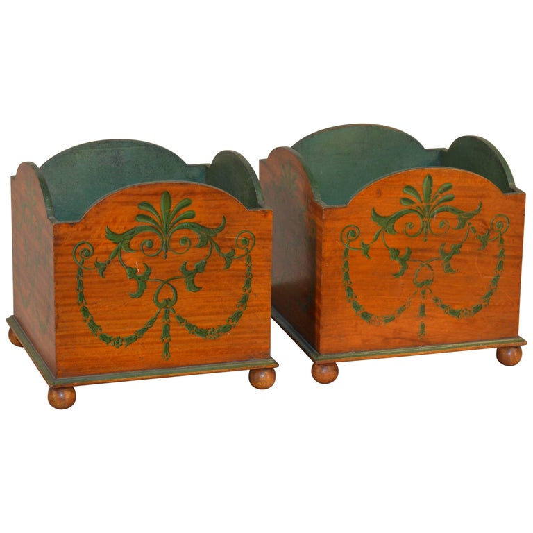19th Century Pair of Satinwood Planters