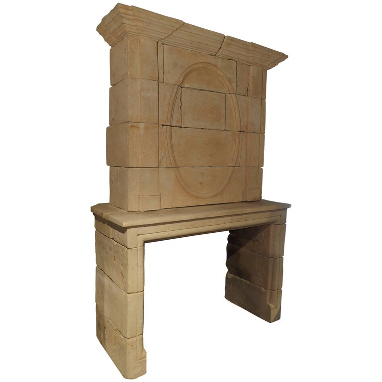 Early 1800s Carved Limestone Trumeau Fireplace Mantel from Loire Valley, France 1
