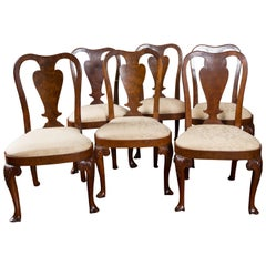 Rare Set of Six George II Figured Walnut Dining Chairs