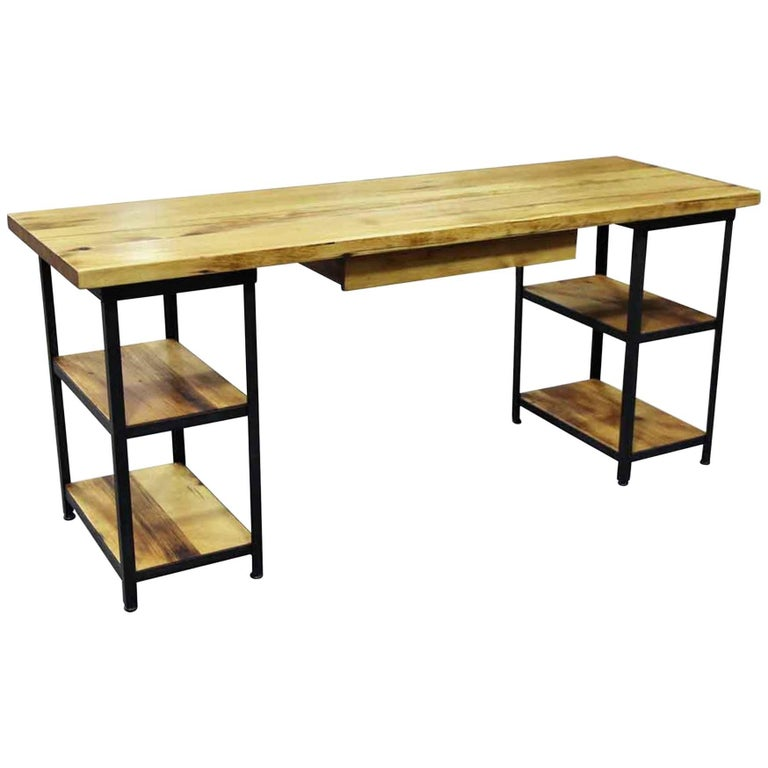 Pine and Steel Custom Desk with Shelves and Drawer