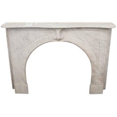 1930s Carrara Marble Arched Italian Mantel