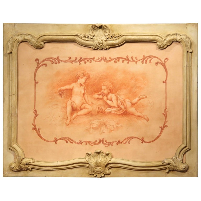 19th Century French Carved Painted Wood Panel Frame with Cherubs Eating Grapes For Sale