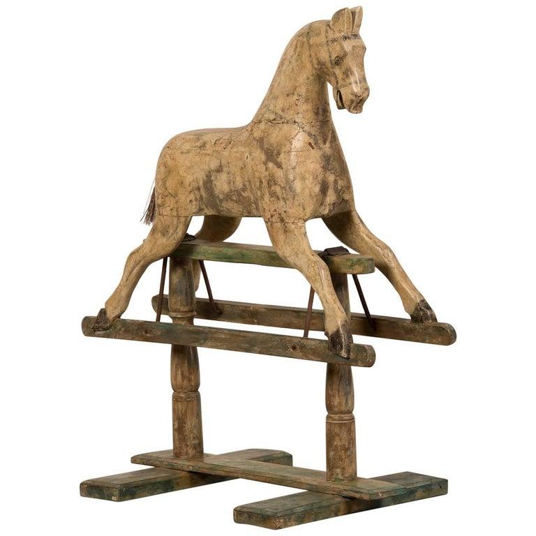 Painted Wood Rocking Child's Hobby Horse, France