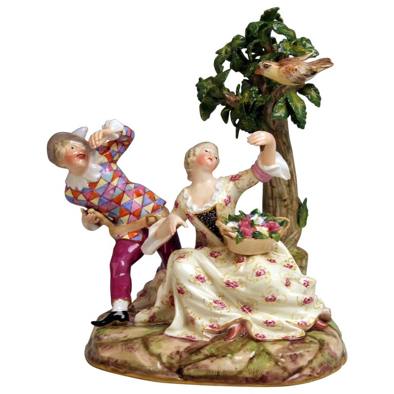 Meissen Harlequin and Girl Figurines Model 782 Kaendler Made circa 1840 For Sale