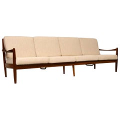 Danish Retro Walnut Four-Seat Sofa Vintage, 1960s