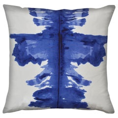 Unique Contemporary Double Sided Ink Blot in Ultramarine Handmade Silk Pillow