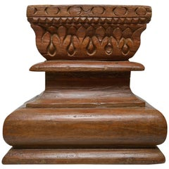 Side Table or Stool, Old Asian Teak Capitals
