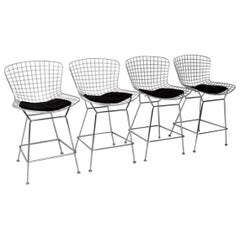Set of Four Retro Wire Bar Stools by Harry Bertoia Vintage, 1960s