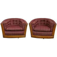 Pair Swivel Barrel Chairs with Oak Trim Style of Milo Baughman or Harvey Probber