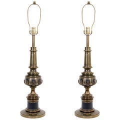 Pair of Gold Brass and Black Matte Enamel Lamps