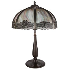 Antique Arts & Crafts Filigree Dual Light Slag Glass Table Lamp, 20th Century