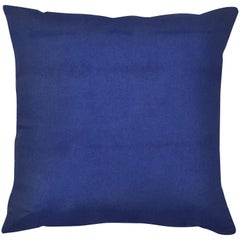 Unique Contemporary Double-Sided Stitch in Blue Handmade Linen Ink Wash Pillow