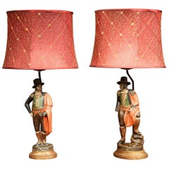 Pair of 19th Century Spanish Carved Polychrome Matadors Sculpture Table Lamps