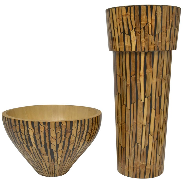 Set Bamboo Vase And Bowl R And Y Augusti For Sale At 1stdibs