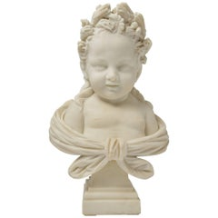 Smiling Little Girl with Flowers in the Hair, White Marble Statue