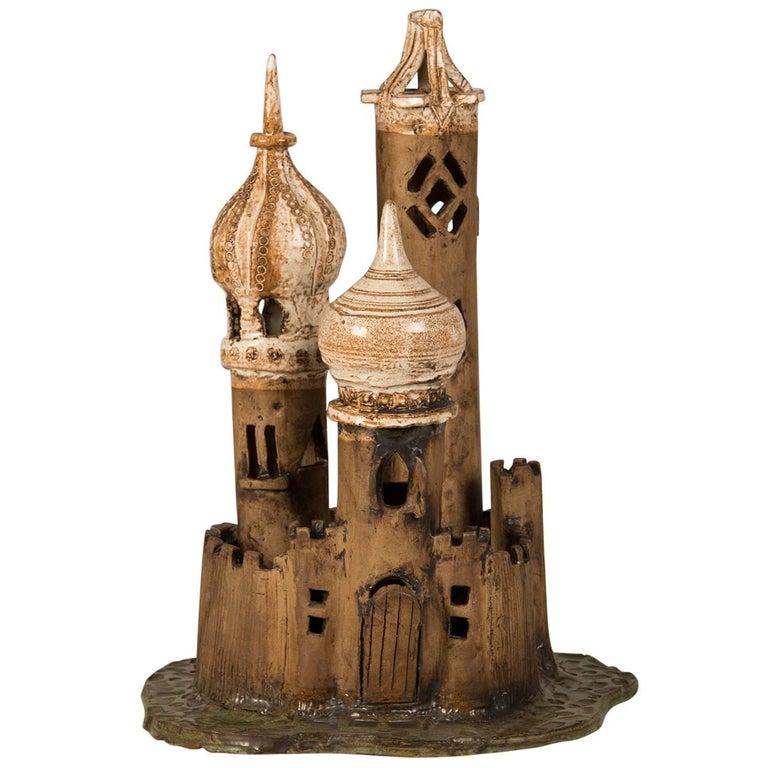 Vintage Polish Handmade Earthenware Fantasy Castle, circa 1950 1