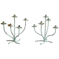 Pair of Iron Candelabra