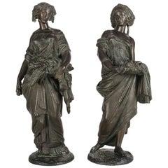 Pair of Antique Classical Bronzed Figural Sculptures of Demeter, 19th Century