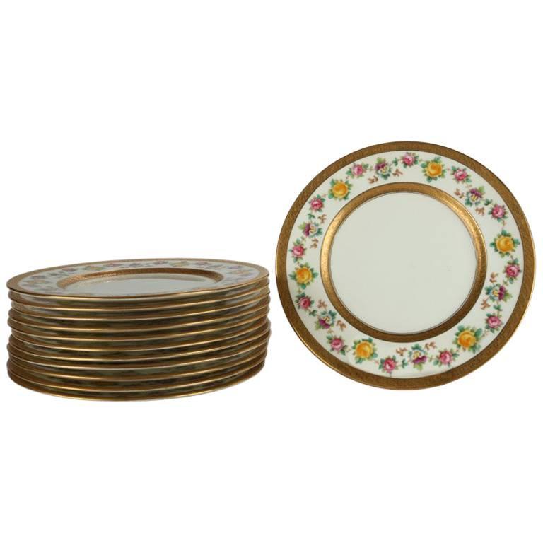 Set of 12 English Brown-Westhead Moore Gilt u0026 Hand-Painted Porcelain Plates For  sc 1 st  1stDibs & Set of 12 English Brown-Westhead Moore Gilt and Hand-Painted ...