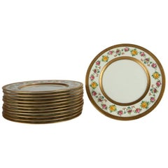 Set of 12 English Brown-Westhead Moore Gilt & Hand-Painted Porcelain Plates
