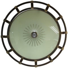 Huge Art Deco Brass and Glass Flush Mount or Wall Light by Kaiser, circa 1930s
