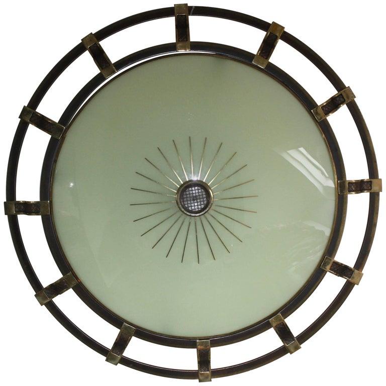 Huge Art Deco Brass and Glass Flush Mount or Wall Light by Kaiser, circa 1930s