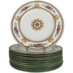 "Antique Set of 11 Classical Wedgwood ""Columbia"" Gilt Porcelain Dinner Plates"